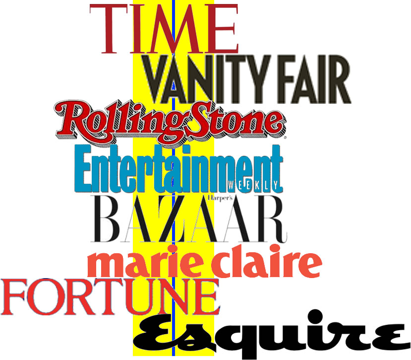time-vanity-fair-rolling-stone-entertainment-weekly-harper's-bazaar-marie-claire-fortune-esquire-magazine-logo